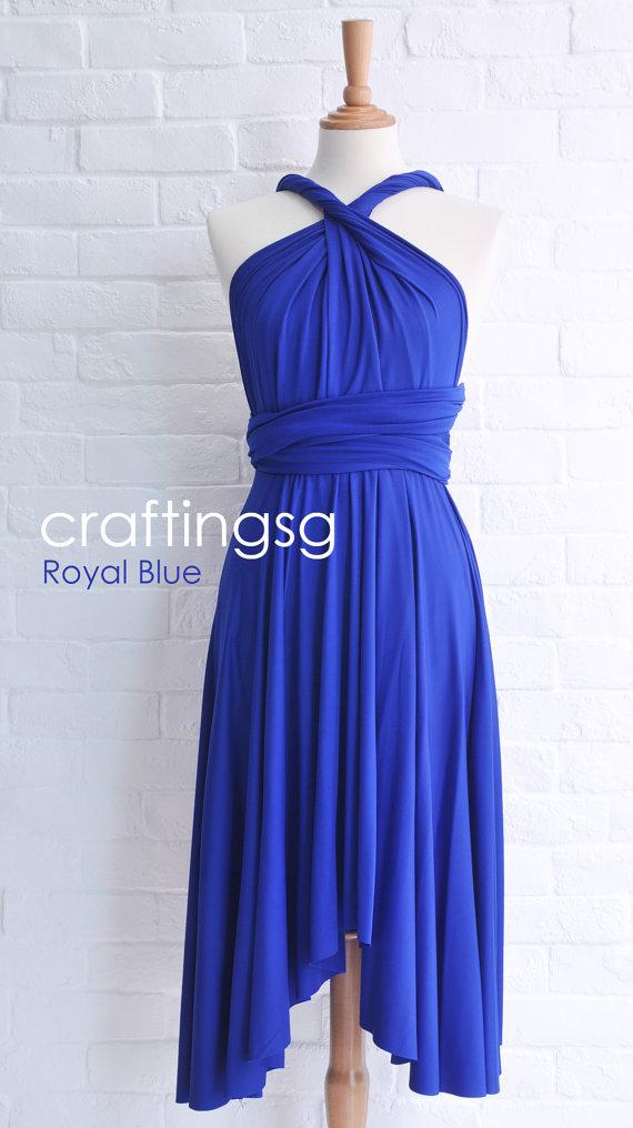 Mariage - Bridesmaid Dress Infinity Dress Royal Blue Knee Length Wrap Convertible Dress Wedding Dress