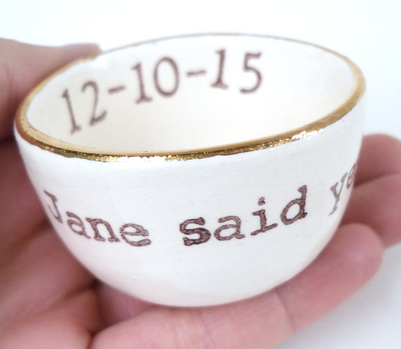 Hochzeit - GOLD luster RING DISH customized personalized date name initials wedding gift idea engagement gift wedding ring pillow ring holder