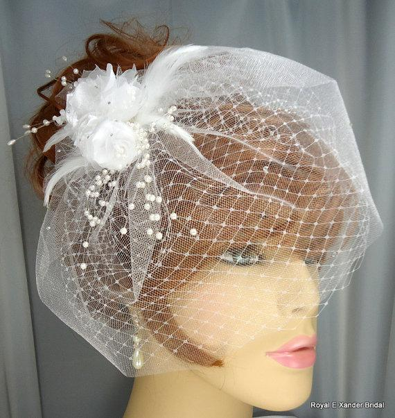 "Hochzeit - White Detachable Floral Spray Double White 9"" Russian Style Blusher Veil Set"