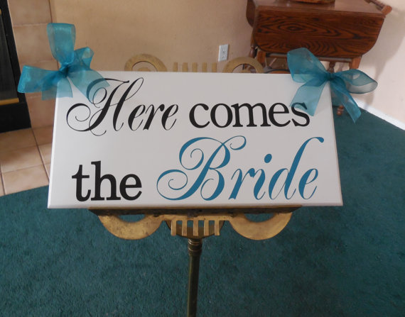 Свадьба - Here Comes the Bride, Thank You...Just Married...they lived happily ever after...two sided sign