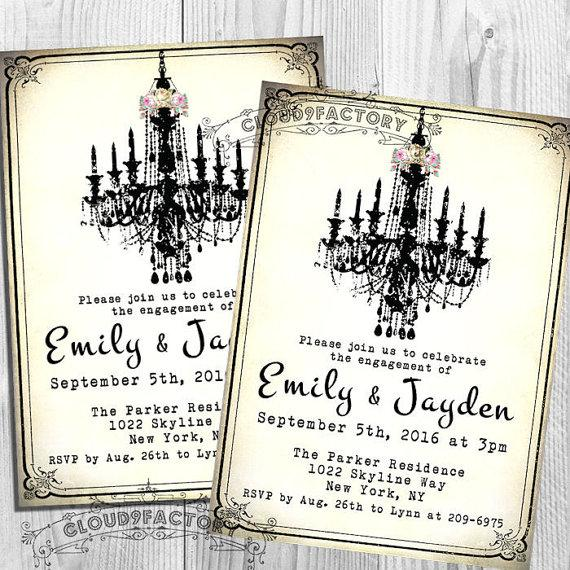 Mariage - Engagement Party Invitations - Fancy Chandelier - Printable