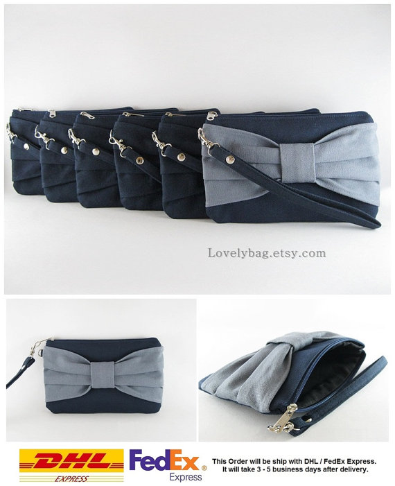 Mariage - Set of 6 Wedding Clutches, Bridesmaids Clutches / ( 5 Navy Bow and 1 Gray Bow ) - MADE TO ORDER