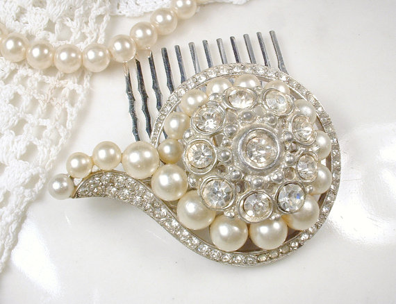 Mariage - Antique Brooch or Hair Comb, Art Deco Clear Pave Rhinestone & Ivory Pearl Wedding Sash Pin or Bridal Headpiece Vintage Great Gatsby Flapper