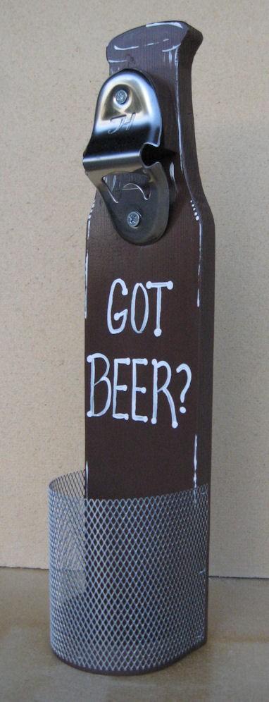 """Свадьба - Beer Bottle Opener With Cap Catcher Wall Mounted """"Got Beer"""" For my Groomsmen"""