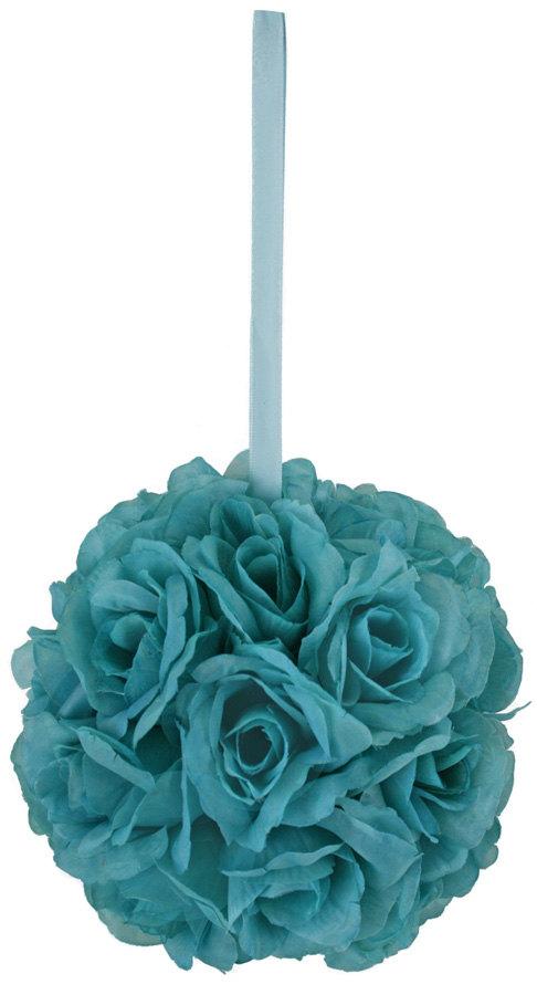Mariage - Turquoise Silk Rose Bud Kissing Ball - Pomander