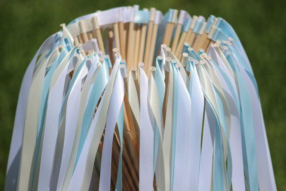 Mariage - 150 Wedding Ribbon Wands Party Ribbon Streamers Party Decorations Wedding Decoration Ceremony Wedding Wand Streamers Wedding Wand Sticks