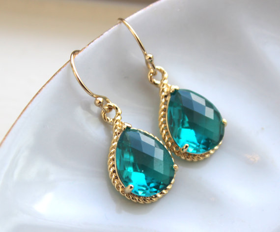 Mariage - Gold Topaz Earrings Sea Green Jewelry Blue Gold Earrings - Bridesmaid Earrings Topaz Wedding Jewelry Bridal Earrings - Topaz Wedding