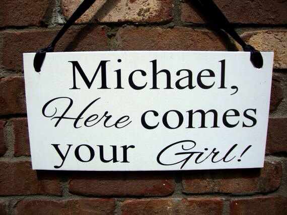 Свадьба - Weddings signs, name HERE COMES your GIRL, flower girl, ring bearer, photo props, single sided, 8x16