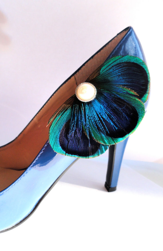 Mariage - BALEY Blue Peacock Feather Shoe Clips with Pearl