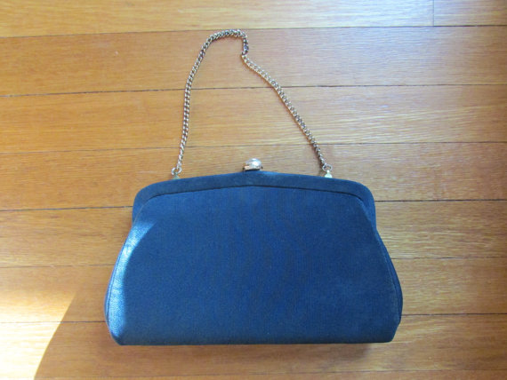 Mariage - SALE Navy Blue Clutch Handbag Purse with Beautiful Large Rhinestone Clasp Prom Wedding Church
