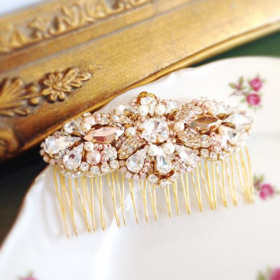 Hochzeit - Rose Gold Crystal and Pearl Bridal Comb- Swarovski Bridal Comb