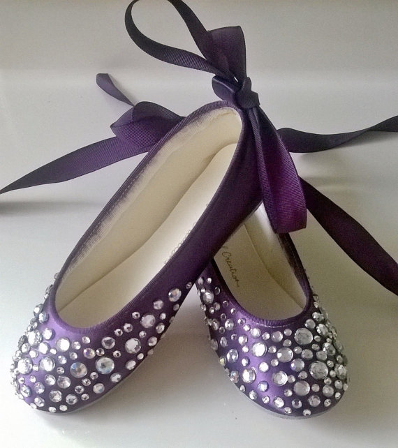 Bling Wedding Shoes Rhinestone Ballerinaflower Girl Purple Eggplant Flat Personalized Flats Crystals Colored