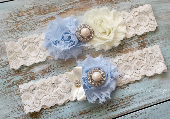 Mariage - Blue Wedding Garter, CUSTOMIZE IT, Bridal Garter, Lace Garter Set, Something Blue, Bridal Garter Belt