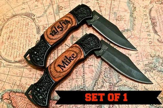 Wedding - Engraved pocket knife - Personalized MINI engraved knife. Wood Handle Pocket Knife – Personalized Groomsmen Gift  - Wedding Party Gift