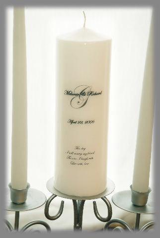 Mariage - Personalized Unity Candle with Monogram, wedding candles, weddings, wedding decorations