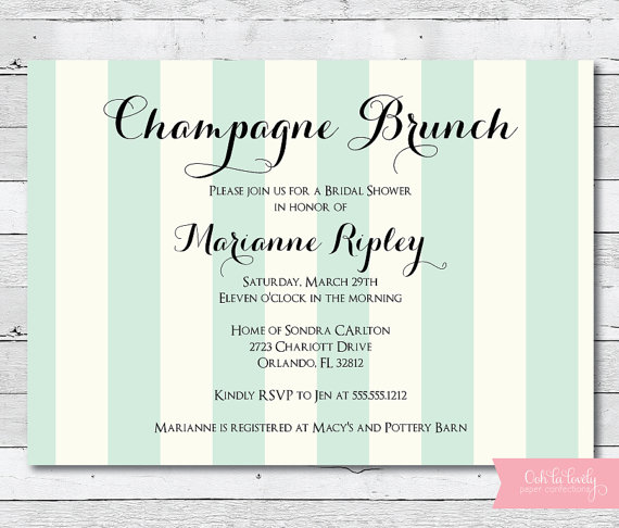 Champagne Brunch Invitation Bridal Shower Invitation Engagement – Champagne Party Invitations