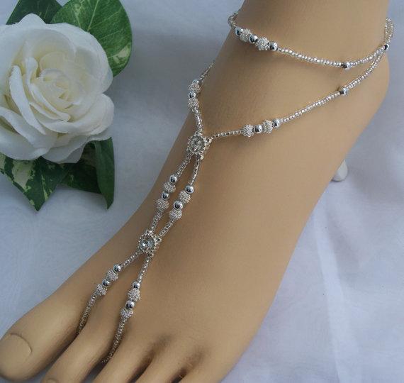 Mariage - Sliver Rhinestone Barefoot Sandal - Foot Jewelry Wedding Anklet
