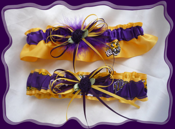 Свадьба - Gold Satin Wedding Garter Set Made w LSU Fabric PB~~~SALE~~