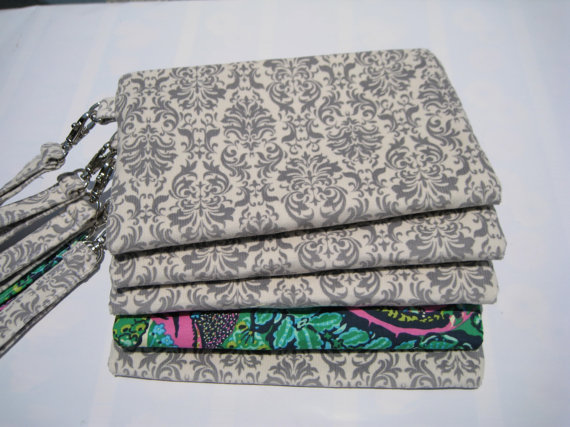 Mariage - 5 wedding clutches, gift pouches 2 pockets, bridesmaids handmade wristlet bulk bridesmaid gift set spring wedding