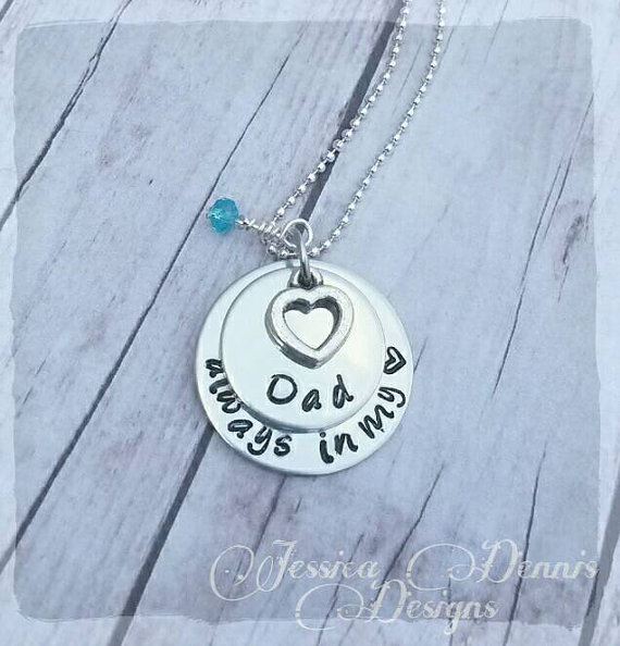 Свадьба - Memorial necklace * Custom made to order * Birthstone * Hand Stamped