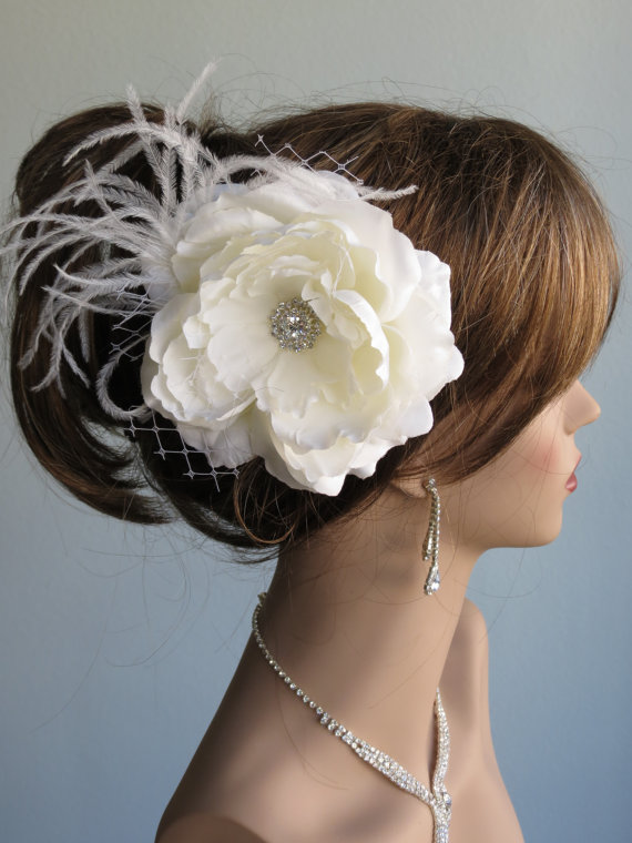 Hochzeit - Ivory (White) Bridal Flower Hair Clip Wedding Accessory Crystals Feathers Bridal Fascinator Bridal Accessory