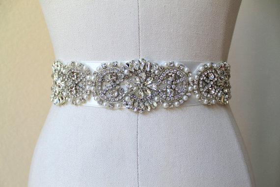 Hochzeit - Bridal beaded vintage style crystal pearl sash.  Embellished rhinestone applique wedding belt.  DUCHESS CRYSTAL