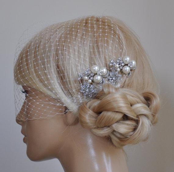 Mariage - birdcage veil and 2 small bridal combs (3 Items) -  Swarovski Pearls Comb,Wedding combs,bridal headpieces , rhinestone bridal Hair comb