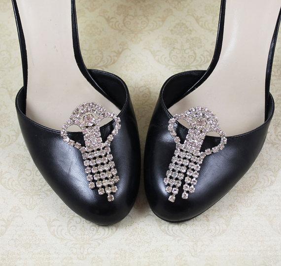 Mariage - Vintage Multi Strand Rhinestone Dangling Large Shoe Clips