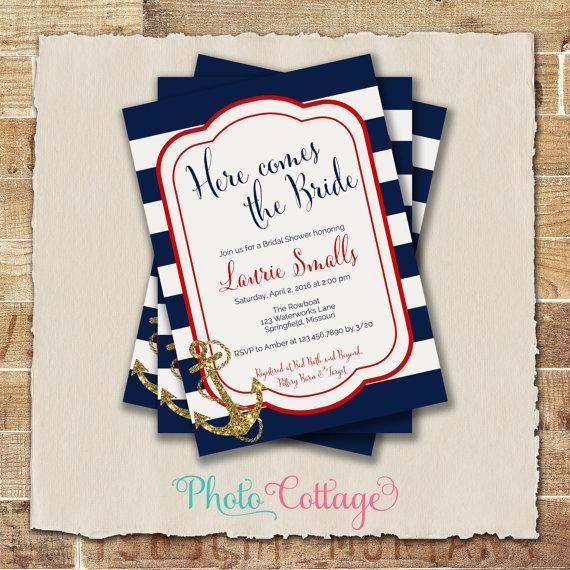 Wedding - Bridal Shower Invitation, Navy, White & Red Invitation, Anchor Invitations, Bridal Shower Invites, Nautical Bridal Shower Invitation, BS202