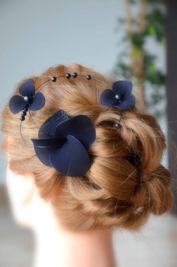 Navy blue fascinator Classy headband Elegant hair piece Bridesmaid hair Bridal  headpiece Wedding hair accessories Fascinator headband d9557246b15