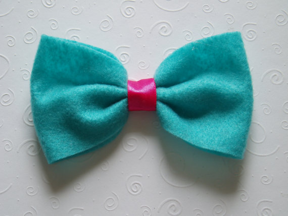 Mariage - Dog Bow Tie Collar Attachment, doggie bowtie slider TURQUOISE Pet Clothing outfit birthday party wedding photo prop