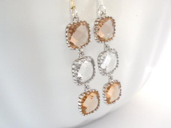 Mariage - Peach Earrings, Champagne Earrings, Crystal Earrings, Beige, Nude, Wedding, Bridesmaid Earrings, Bridal Earrings Jewelry, Bridesmaid Gifts