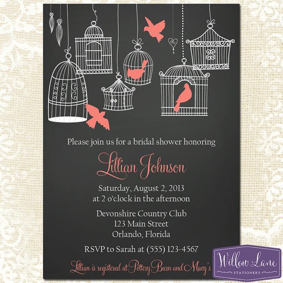 Mariage - Coral Bridal Shower Invitation - Hanging Bird Cage Bridal Shower Invite - Birds Chalkboard Wedding Shower Invitation - 1147 PRINTABLE