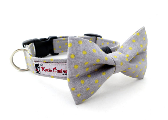 Свадьба - Gray and Yellow Polka Dot Dog Collar (Grey , Yellow Dog Collar Only - Matching Bow Tie Available Separately for Wedding & Special Occasion)