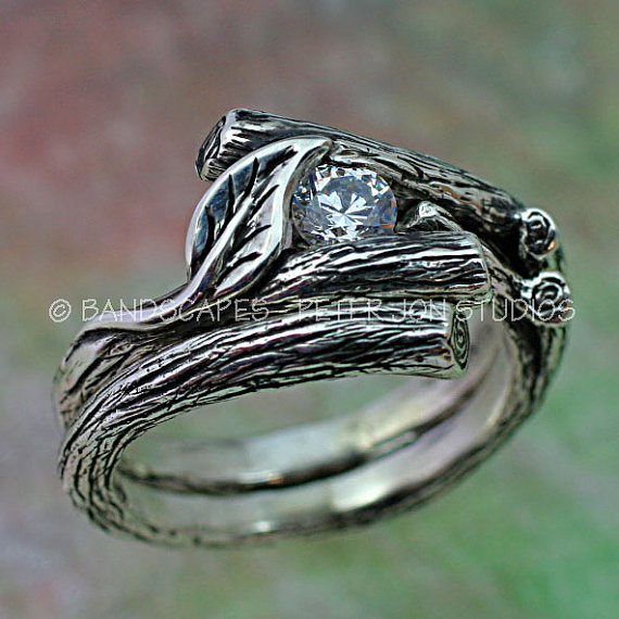 Mariage - KIJANI Single Leaf - Engagement Ring, Wedding Band Set in Sterling Silver with White Sapphire