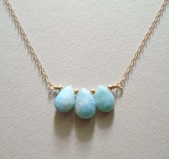 Hochzeit - Larimar Necklace, Larimar Pendant, Ocean Jewelry, Dolphin Stone, Stefilia's Stone, Pectolite, Bridal Necklace