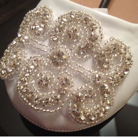 Mariage - Wedding Shoe Flat,Lace Shoe Bridal Wedding Shoe, Rhinestone Appliqué Shoe