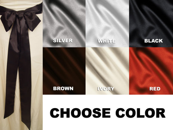 Mariage - Satin wedding sash bridal belt  CHOOSE Color, Length & Width: White, Ivory, Black, Brown, Red or Silver