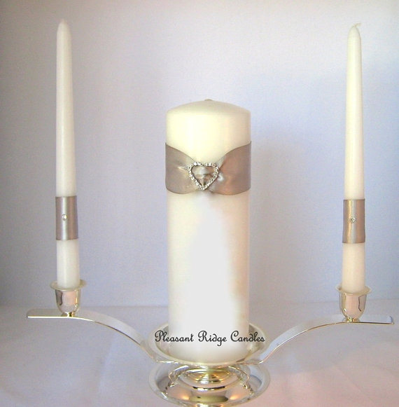 Mariage - Heart Unity Candle Wedding Candle Bling Unity Candle Wedding Unity Candle White Unity Candle Cheap Unity Candle Ribbon Color Choice