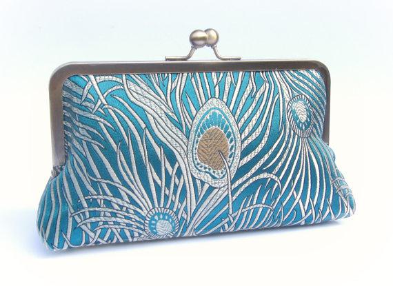 Mariage - Peacock clutch bag, teal bridal clutch, great gatsby clutch, teal bridesmaid clutch, turquoise evening clutch, 1920s clutch, wedding purse