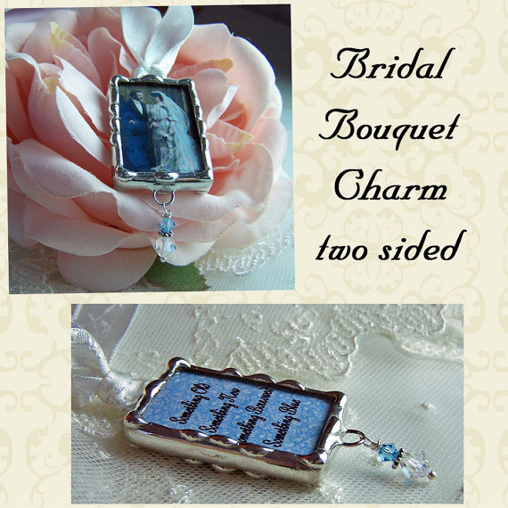 Mariage - Wedding bouquet Charm, Photo Memorial Charm,  Hand Soldered Frame, Custom Made Personalized For Bride