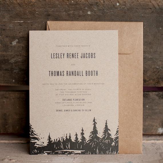 Mariage - Wedding Invitation, Tree Wedding Invitation, Rustic Wedding Invitation, kraft wedding invitation, trees, eco friendly, nature - The Oatlands