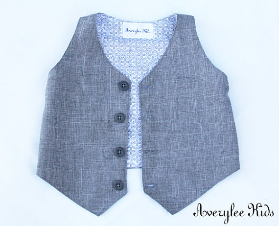 Mariage - Grey Linen Look Boys Vest, Boys Gray Vest, Wedding Ring Bearer, Easter Outfit, Toddler to Teen, and Infant Vest