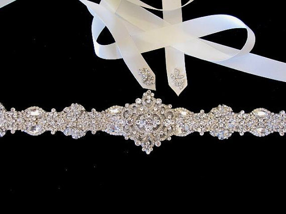 Hochzeit - Bridal Wedding Dress Rhinestone Beaded Crystal Embellished Belt Sash