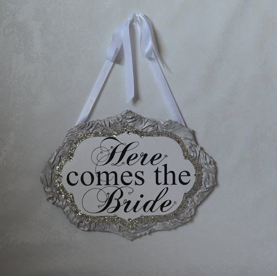 Wedding - Rhinestone Here Comes the Bride sign_ Custom sign made to order_silver, grey, glitter sign, ring bearer sign, bridal party sign, ceremony