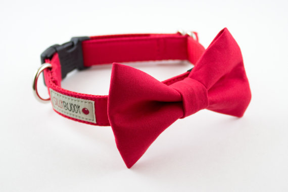 Mariage - Solid Bright Red Dog Bowtie Collar