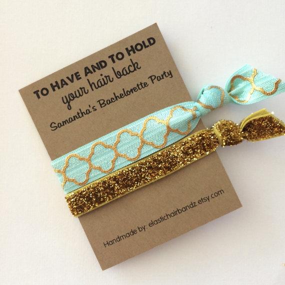 Custom Bachelorette Party Favors Gold Quarter Foil Print Glitter