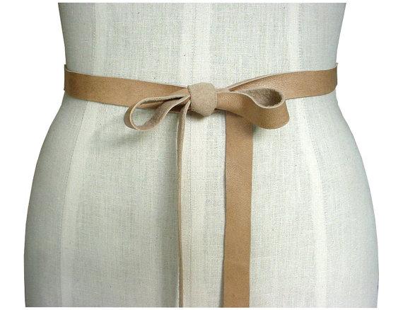 Mariage - Minimalist Leather bow belt, Narrow leather tie belt, wedding dress belt, bridesmaid belt, baby bump belt, Buff beige, XS,S,M,L,XL