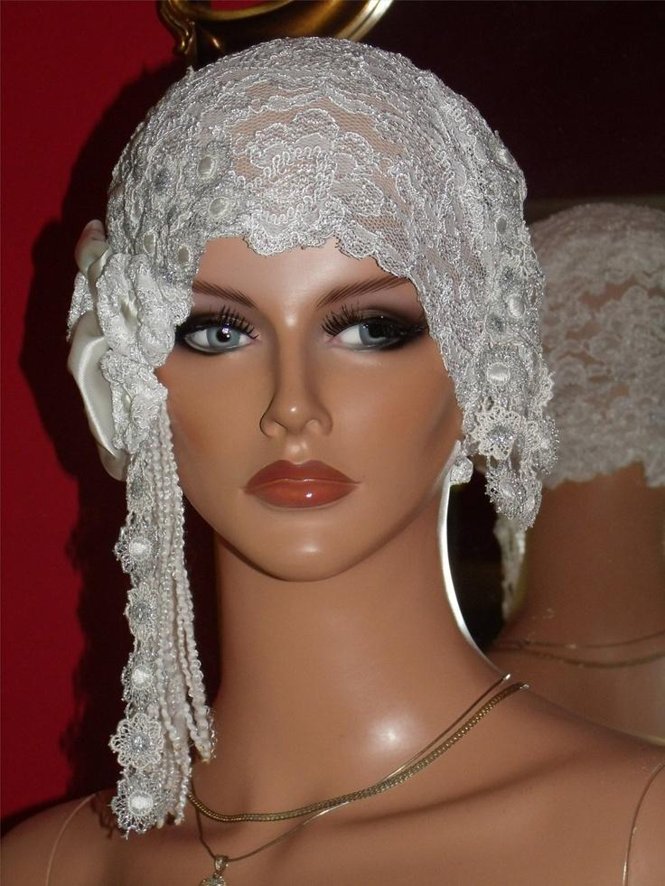 Wedding Flapper Hat Cloche Hat 1920 Style Bridal White