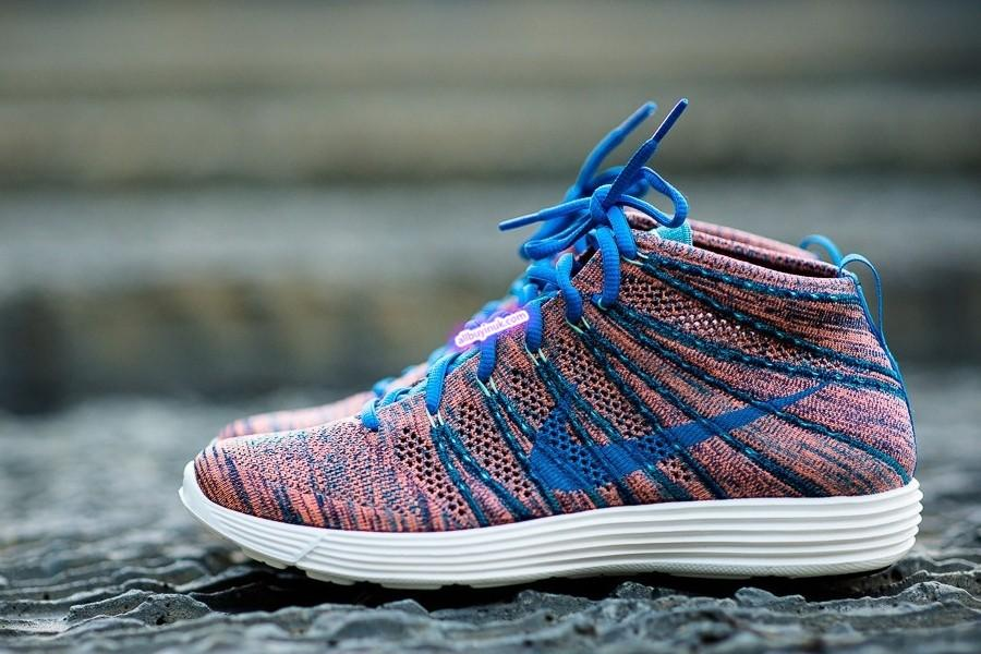 huge discount 824d2 a7acb Nike Flyknit Lunar Chukka Photo BlueMineral TealGreen Glow Mens Running  Shoes